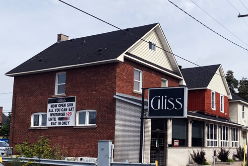 Gliss restaurant side of building